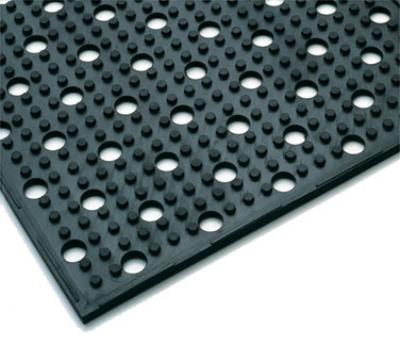 "Notrax 410940 Mult-Mat II Reversible Drainage Floor Mat, 3 x 2 ft, 3/8"" Thick, Black"