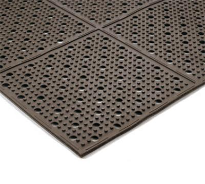 "Notrax T23U0032BR Mult-Mat II Reversible Drainage Floor Mat, 3 x 2 ft, 3/8"" Thick, Brown"