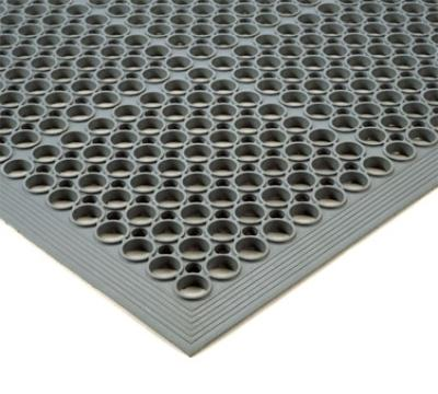"Notrax 436971 Tek-Tough Jr Grease Resistant Floor Mat, 3 x 5 ft, 1/2"" Thick, Gray"