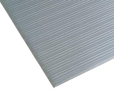 "Notrax 4454164 Comfort Rest Anti-Fatigue Floor Mat, 3 x 10 ft, 9/16"" Thick, Ribbed, Silver"