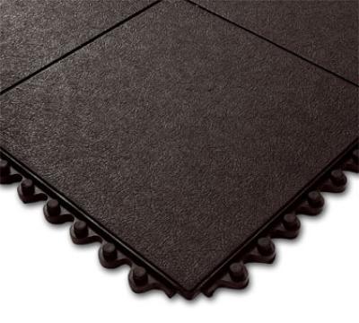 """Notrax 4457150 Click Mat Solid General Purpose Floor Mat, 3 x 3 ft, 3/4"""" Thick, Black"""