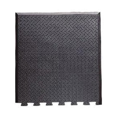 "Notrax 545E2831BL End Piece Floor Mat - 28x31"", Trip Resistance, Diamond Plate Top, Rubber"