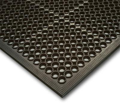 "Notrax 755-100 Competitor General Purpose Floor Mat, 3 x 5 ft, 1/2"" Thick, Black"