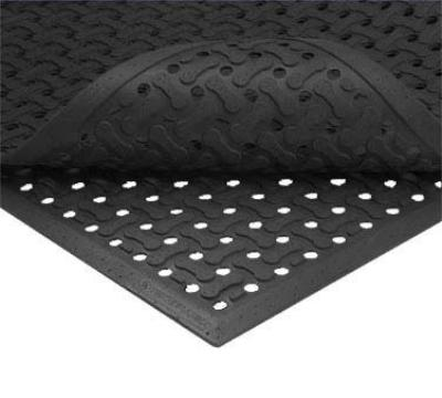 Notrax T18U0046BL Superflow Reversible Grease Resistant Floor Mat, 4 x 6 ft, 5/8 in Thick, Black