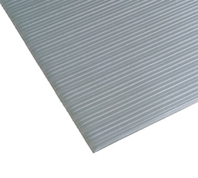 Notrax 0434-402 Anti-Fatigue Floormat, Ribbed Foam Vinyl w/ Textured Base, 3 x 5-ft, Silver