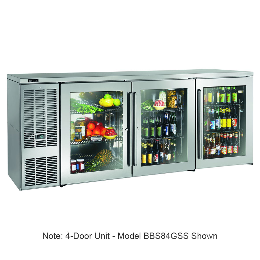 "Perlick BBS108GS-S 108"" (4) Section Bar Refrigerator - Swinging Glass Doors, 120v"