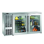 "Perlick BBS60GS-S 60"" (2) Section Bar Refrigerator - Swinging Glass Doors, 120v"