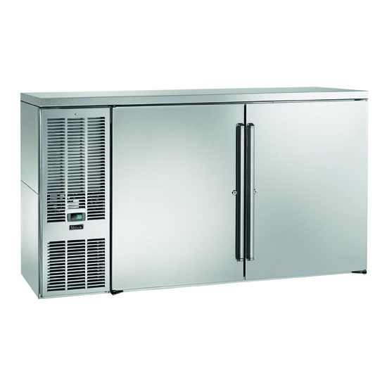 "Perlick BBS60S-S 60"" (2) Section Bar Refrigerator - Swinging Solid Doors, 120v"