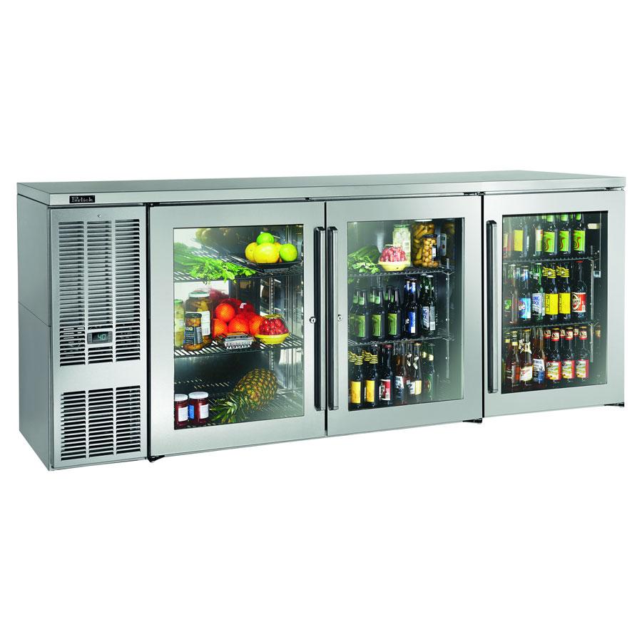 "Perlick BBS84GS-S 84"" (3) Section Bar Refrigerator - Swinging Glass Doors, 120v"