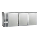 "Perlick PTS84 84"" (3) Section Bar Refrigerator - Swinging Solid Doors, 120v"