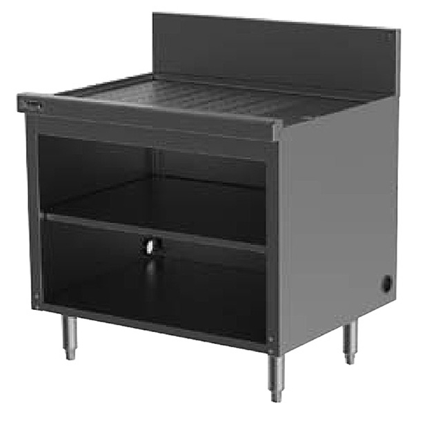 Perlick SC42 42-in Storage Cabinet w/ Open Base, Drainboard, Stainless