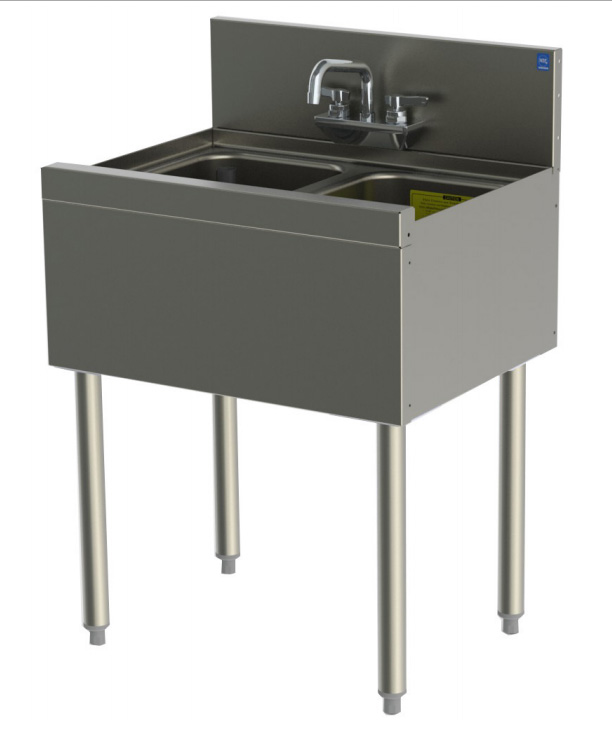 Perlick TS22C 24-in Underbar Sink w/ 2-Compartments, Stainless