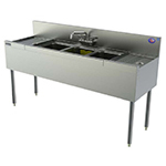 Perlick TS43L 48-in Underbar Sink w/ 3-Compartments & Left Drainboard, Stainless