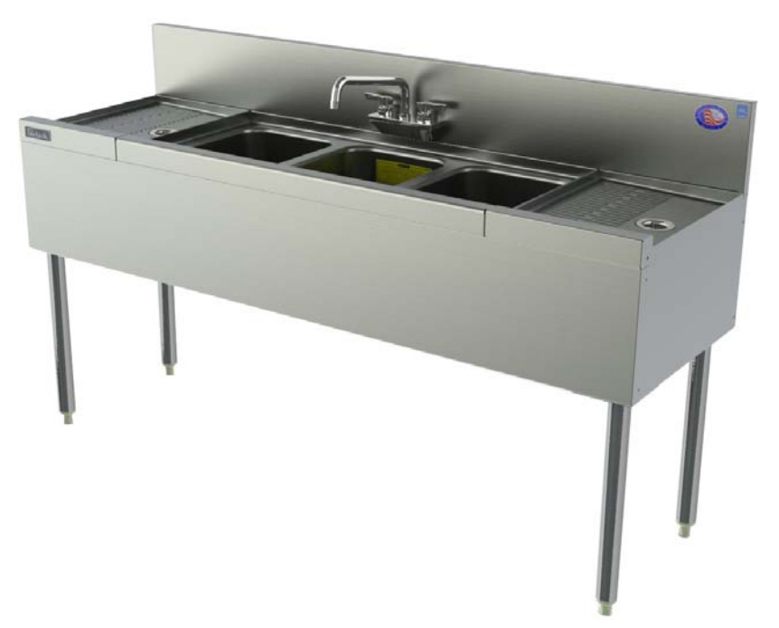 Perlick TS43R 48-in Underbar Sink w/ 3-Compartments & Right Drainboard, Stainless