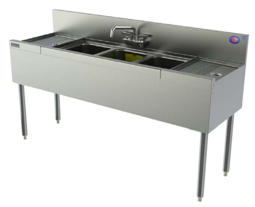 Perlick TS53C 60-in Underbar Sink w/ 3-Compartments & 2-Drainboards, Stainless
