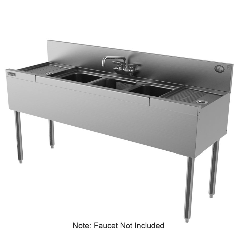"Perlick TS53C-STK 60"" 3-Compartment Sink w/ 10""L x 14""W Bowl, 9"" Deep"