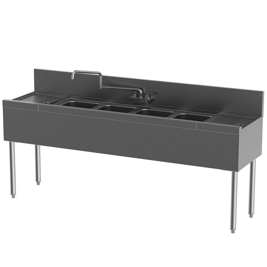"""Perlick TS64C-STK 72"""" 4-Compartment Sink w/ 10""""L x 14""""W Bowl, 9"""" Deep"""
