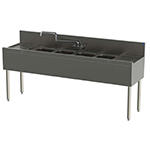 Perlick TS84C 96-in Underbar Sink w/ 4-Compartments & 2-Drainboards, Stainless