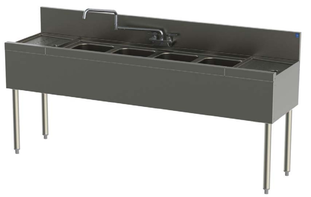 Perlick TS94C 108-in Underbar Sink w/ 4-Compartments & 2-Drainboards, Legs