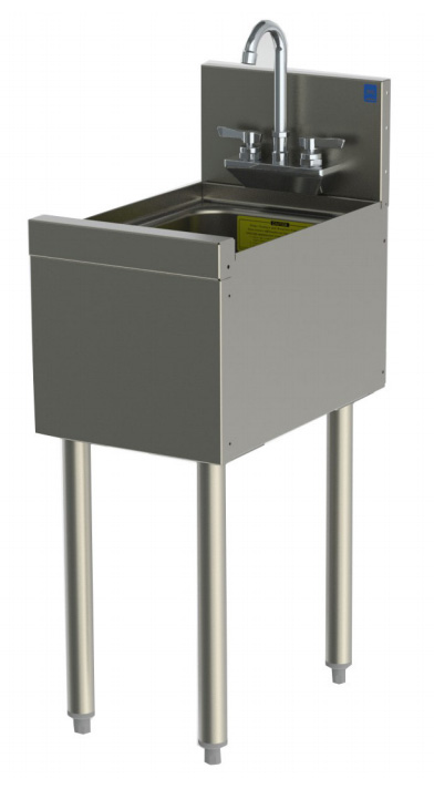 "Perlick TSD12HS 12"" Underbar Single Compartment Hand Sink & Splash, Stainless"