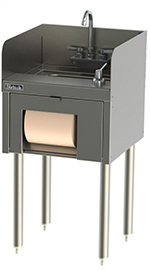 Perlick TSD18HSN 18-in Underbar Hand Sink w/ Backsplash, Towel Dispenser, Stainless
