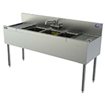 Perlick TSD43L 60-in Underbar 3-Compartment Sink Unit w/ 12-in Left Drainboard