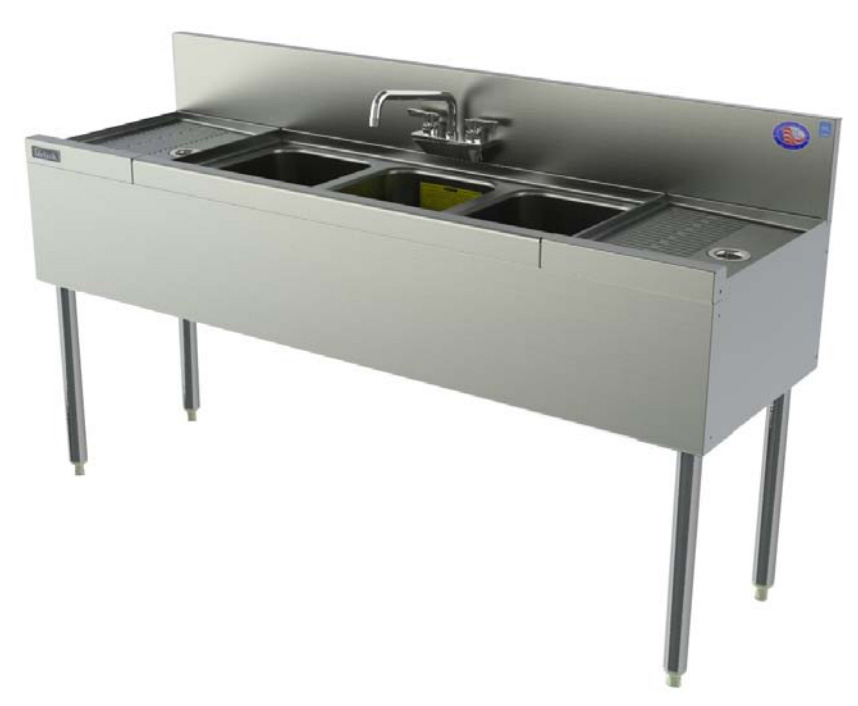 Perlick TSD53C 60-in Underbar 3-Compartment Sink Unit w/ (2) 12-in Drainboard