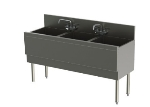 Perlick TSD543CA 54-in Underbar Sink w/ 3-Compartments & Extra Capacity, Stainless