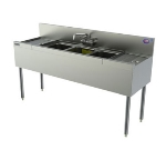 Perlick TSD63C 72-in Underbar 3-Compartment Sink w/ (2) 18-in Drainboard, Stainless