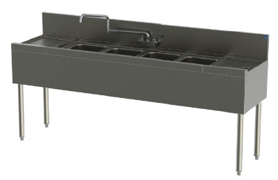 Perlick TSD74C 84-in Underbar Sink w/ 4-Compartments & 2-Drainboards, Stainless