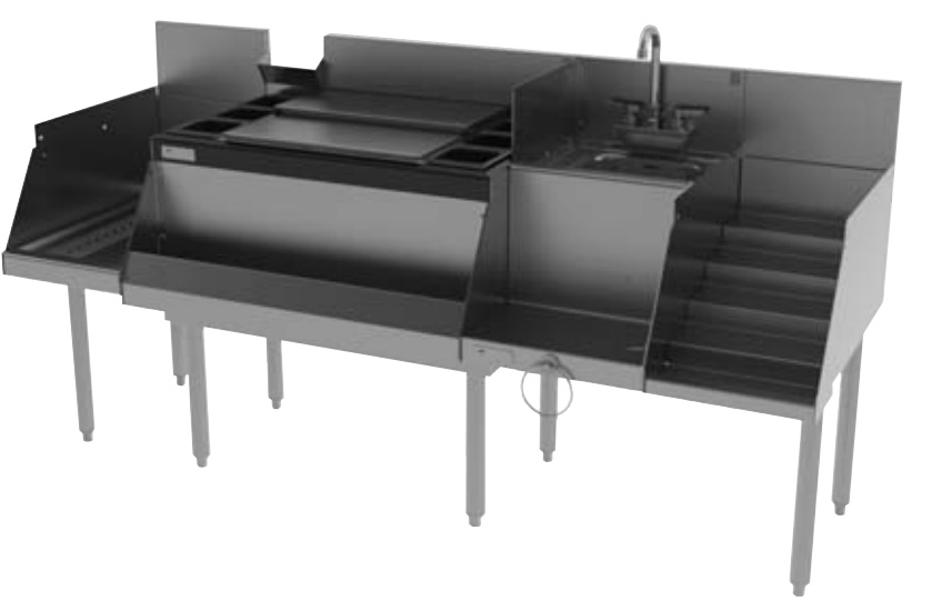 Perlick UCS72A 72-in Cocktail Station: Ice Chest, 12-in Drainboard, 18-in Blender w/ Sink