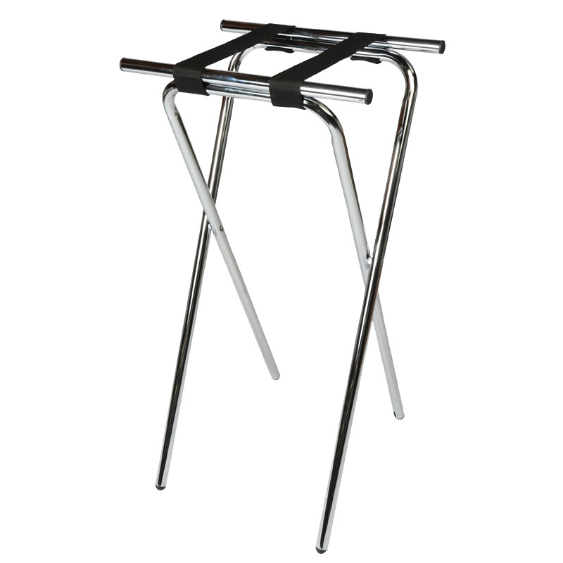 CSL 1036 36-in Extra Tall Tray Stand, Black, Chrome Tubular Frame