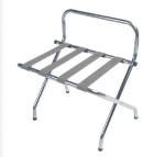CSL 1055B-C-SV-1 Luggage Rack w/ Silver Straps & Luxury High Back, Chrome