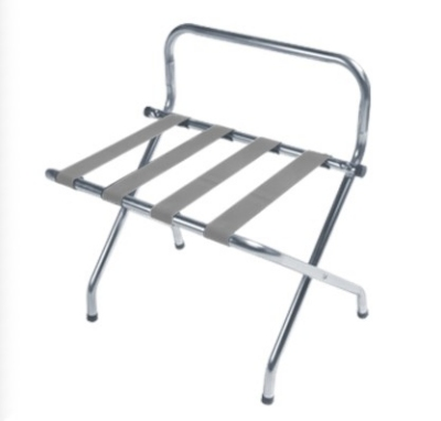 CSL 1055C-SV-1 Luggage Rack w/ Silver Straps & High Back Wall Guard, Chrome