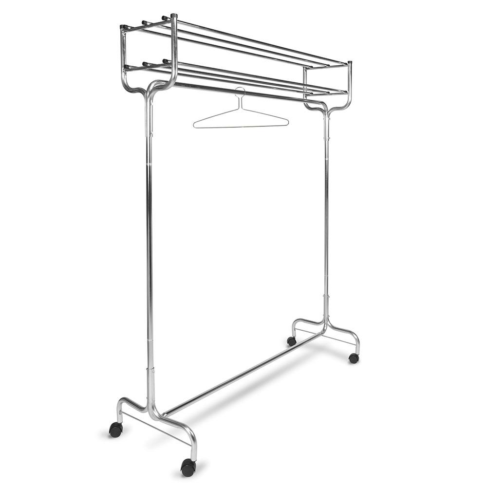 "CSL 1074-48P 48"" Portable Valet w/ Double Hat Rack, 12-Perma-Hangers, Chrome"