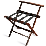 CSL 1077CM-1 Wooden Luggage Rack w/ Black Straps & High Back, Cherry Mahogany
