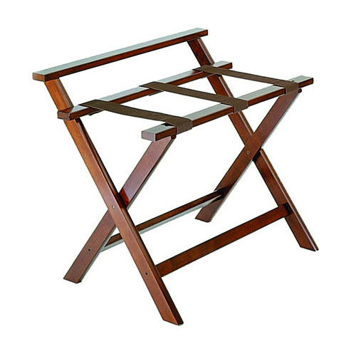 CSL 1077DK Wooden Luggage Rack w/ Brown Straps & High Back, Walnut