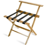CSL Foodservice & Hospitality 1077LT Wooden Luggage Rack w/ Brown Straps & High Back, Light Finish