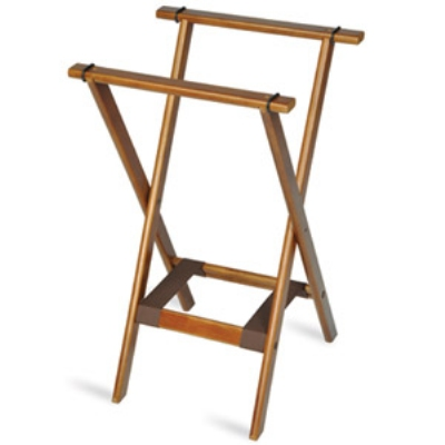 CSL Foodservice & Hospitality 1170BSO-1 Deluxe Tray Stand w/ Bottom Brown Strap, Wooden