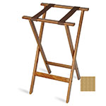 "CSL 1170NAT-1 30"" Flat Tray Stand w/ 2-Brown Straps & Rounded Edge, Mahogany"