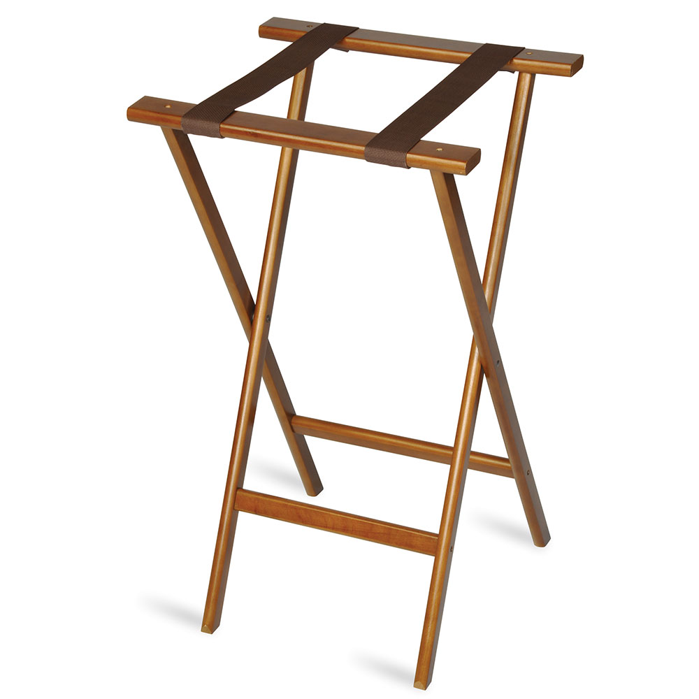 CSL 1270 Economy Wooden Tray Stand w/ Brown Straps, Dark Walnut