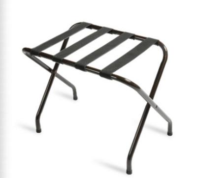 CSL 155BL-BL-1 Flat Top Luggage Rack w/ Black Straps, Black Tubular Frame