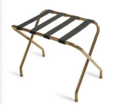 CSL 155I-BL-1 Luggage Rack w/ Black Straps, Flat Top, Antique Inca Gold