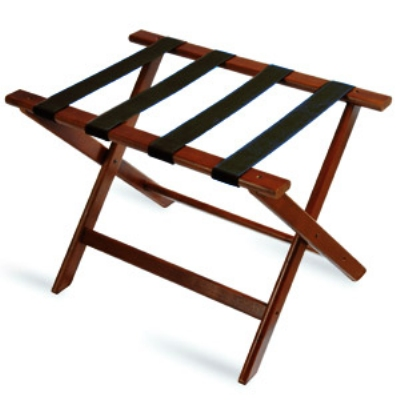 CSL Foodservice & Hospitality 177CM-1 Luggage Rack w/ Black Straps, Deluxe Wooden, Cherry Mahogany