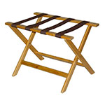 CSL 177LT-1 Luggage Rack w/ Brown Straps, Deluxe Wooden, Light Finish