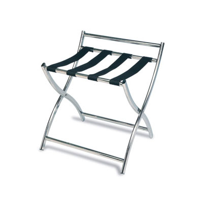 "CSL 199SS-BL 22.5"" Luggage Rack w/ 4-Black Straps, Stainless"