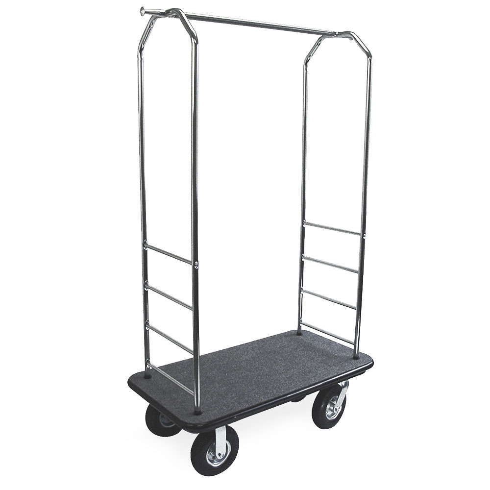 CSL 2000BK-010 BLK Upright Hotel Luggage Cart w/ Black Carpet, Stainless