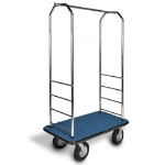 "CSL 2000BK-050 BLK Bellman Cart w/ Black Carpet, 8"" Gray Poly Casters, Black Bumper, Chrome"