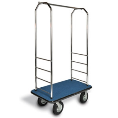 "CSL 2000GY-020 BLK Bellman Cart w/ Black Carpet, 8"" Gray Casters & Bumper, Chrome"
