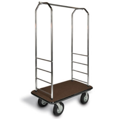 "CSL 2000GY-040 BRN Bellman Cart w/ Brown Carpet, 5"" Gray Casters & Bumper, Chrome"